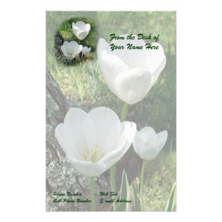 White Tulips Flower Trio Stationery