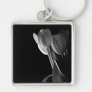 White Tulips Photo On Black Background Key Chains
