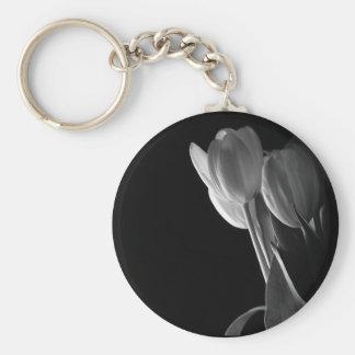 White Tulips Photo On Black Background Keychain