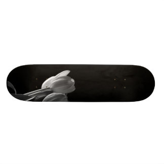 White Tulips Photo On Black Background Skateboard Deck