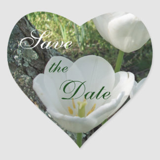 White Tulips Save the Date Sticker