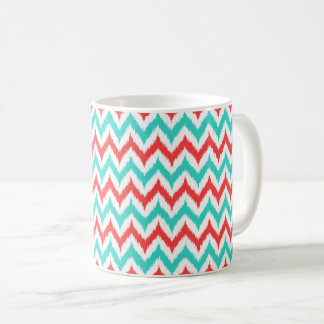 White, Turquoise and Coral Zigzag Ikat Pattern Coffee Mug