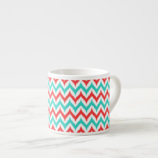 White, Turquoise and Coral Zigzag Ikat Pattern Espresso Cup