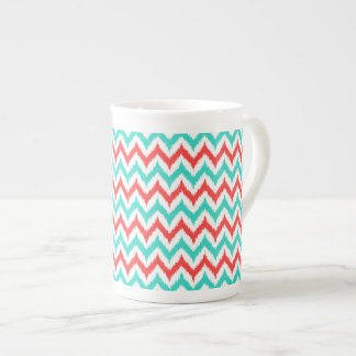 White, Turquoise and Coral Zigzag Ikat Pattern Tea Cup