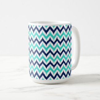 White, Turquoise and Navy Blue Zigzag Ikat Pattern Coffee Mug