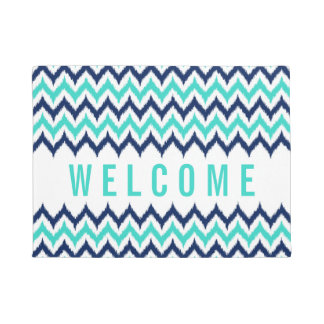 White, Turquoise and Navy Blue Zigzag Ikat Pattern Doormat