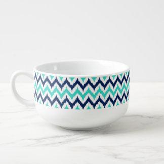 White, Turquoise and Navy Blue Zigzag Ikat Pattern Soup Mug