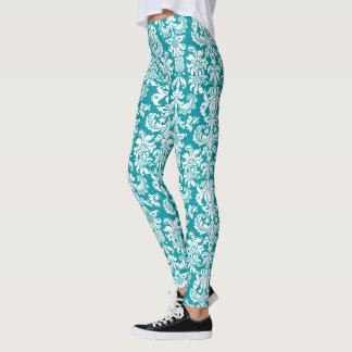 White & Turquoise-Blue Floral Damasks Leggings