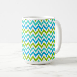 White, Turquoise, Green and Blue Zigzag Ikat Coffee Mug
