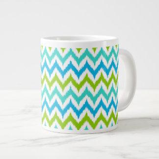 White, Turquoise, Green and Blue Zigzag Ikat Large Coffee Mug