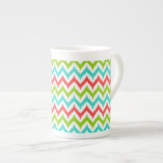 White, Turquoise, Green and Coral Zigzag Ikat Tea Cup