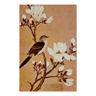 white Turtledove on Flowering Branch, Chiang T'ing Poster