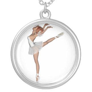 White Tutu 3D Ballerina Keepsake Round Pendant Necklace