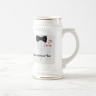 White Tuxedo Monogram with Rose Beer Steins