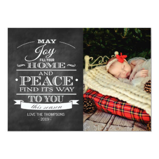 White Typography Chalkboard Christmas Photo Card