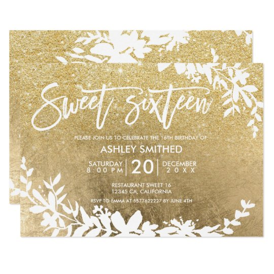 White typography leaf faux gold glitter sweet 16 card