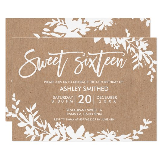 White typography leaf floral kraft sweet 16 card