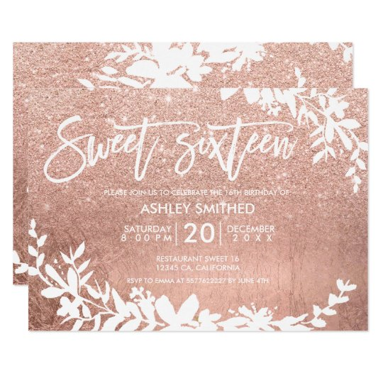 White typography leaf rose gold glitter sweet 16 card