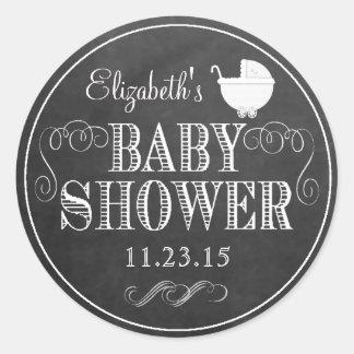 White Typograpy Chalkboard Look  Baby Shower Round Sticker