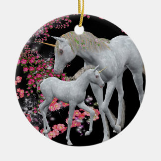 White Unicorn And Foal Fantasy Ornament