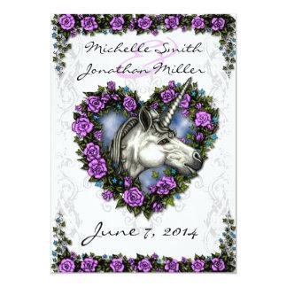 White Unicorn and Purple Rose Heart Invitation