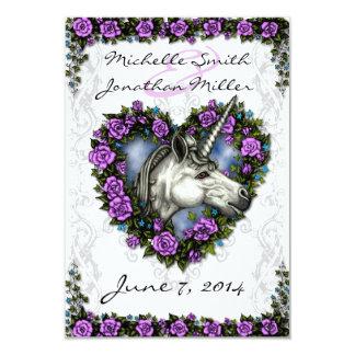 White Unicorn and Purple Rose Heart Reception Card