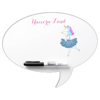 White unicorn blue ballerina dance dry erase board