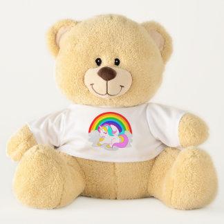 White Unicorn Cartoon on Cloud with Rainbow Teddy Teddy Bear