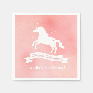 White Unicorn Fantasy Girls Birthday Party Napkins Disposable Serviette
