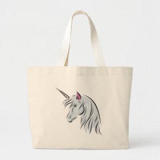 white unicorn head jumbo tote bag