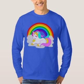 White Unicorn on Cloud Rainbow Men's Long Sleeve T-Shirt