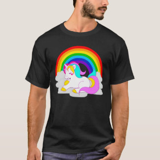 White Unicorn on Cloud with Rainbow Men's T-Shirt