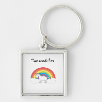 White unicorn on rainbow and clouds Silver-Colored square key ring