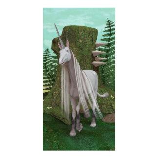 White Unicorn Personalised Photo Card