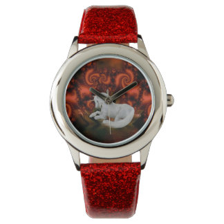 White Unicorn Red Fractals Animal Art Watch
