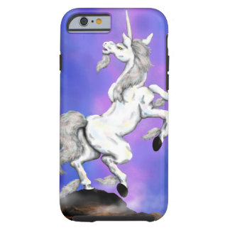 white unicorn standing on a rock tough iPhone 6 case