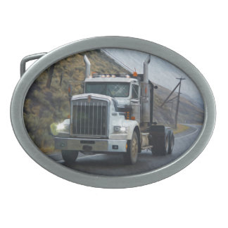 White Unloaded Lorry & Highway for Truck-lovers Oval Belt Buckle