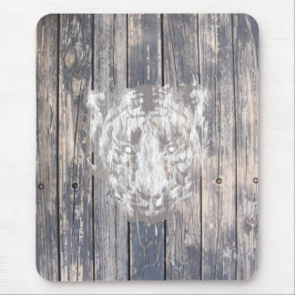 White Urban Tiger Mouse Pad