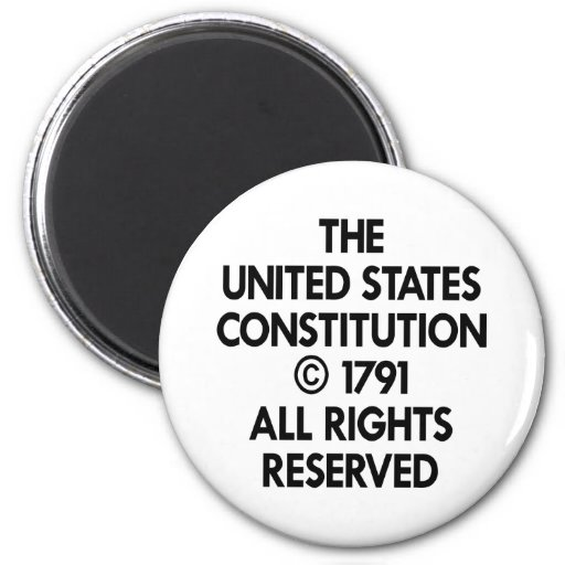 White Us Constitution Reserved Magnet
