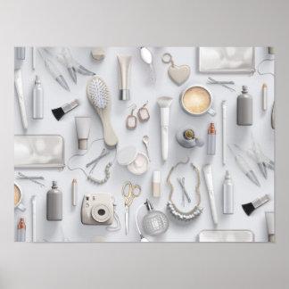 White Vanity Table Poster