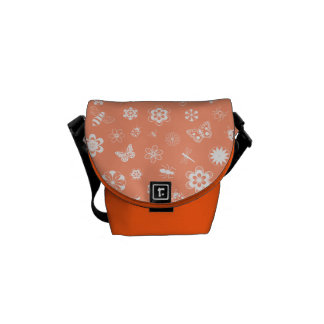 White Vector Bugs & Flowers (Tangerine Background) Courier Bags
