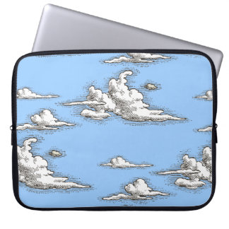 White Vintage Clouds Laptop Sleeve