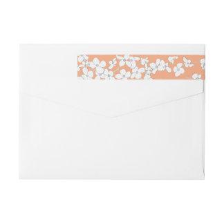White Vintage Dogwood on Apricot Personalised Wrap Around Label