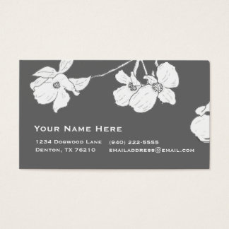 White Vintage Dogwood on Gray Business Card