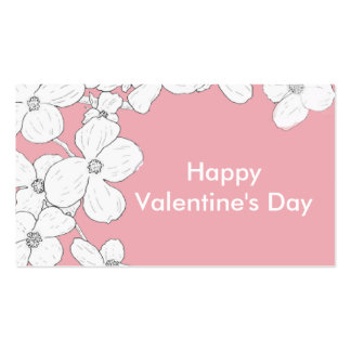 White Vintage Dogwood on Pink Valentine Pack Double-Sided Standard Business Cards (Pack Of 100)