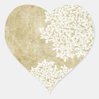 White Vintage Floral Envelope Seal Heart Sticker