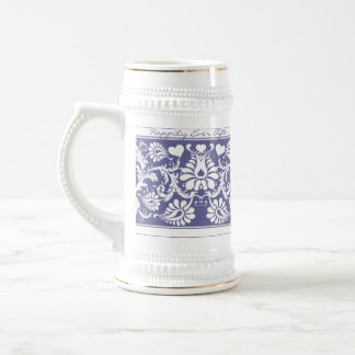 White Vintage Floral Wedding Favors Beer Stein