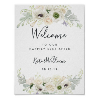White Vintage Floral Wellcome Poster