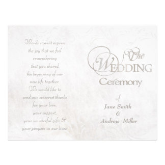 White vintage grungy wedding programs 21.5 cm x 28 cm flyer