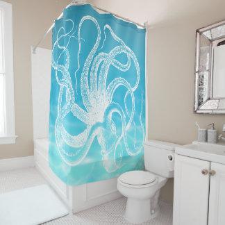 White Vintage  Kraken Illustration  Ocean Water Shower Curtain